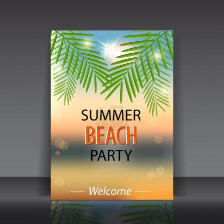 Illustration pour Soirée plage d'été. illustration vectorielle - image libre de droit