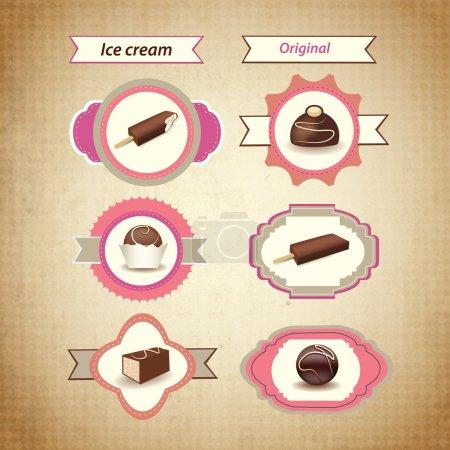 Illustration pour Icônes de crème glacée rétro. Vecteur - image libre de droit