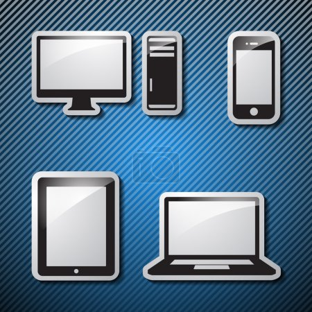 Set of monitor, tablet and smart phone. Vector