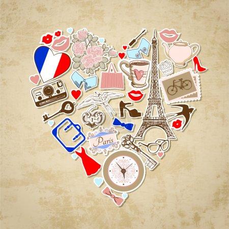 Photo pour L'amour à Paris - illustration vectorielle . - image libre de droit