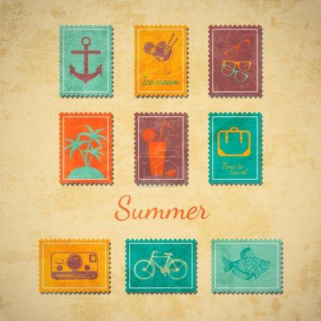Illustration pour Timbres vectoriels d'été, illustration vectorielle - image libre de droit