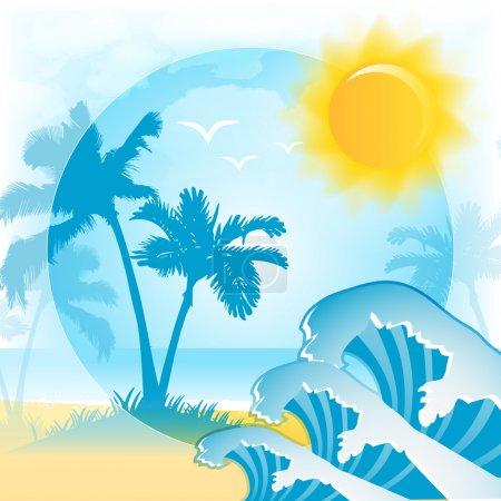 Illustration pour Fond vectoriel avec plage d'été - image libre de droit