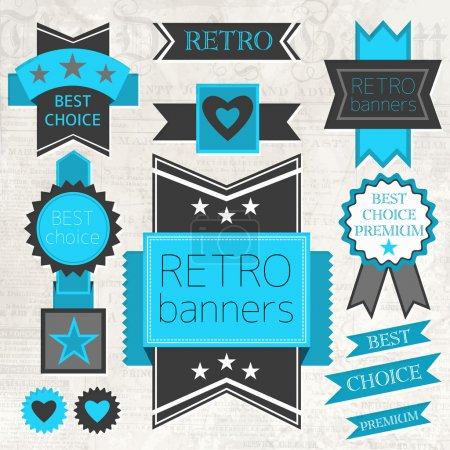 Illustration for Vector set of retro labels and buttons - Royalty Free Image