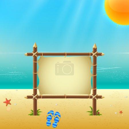Illustration pour Panneau en bois sur la plage - image libre de droit
