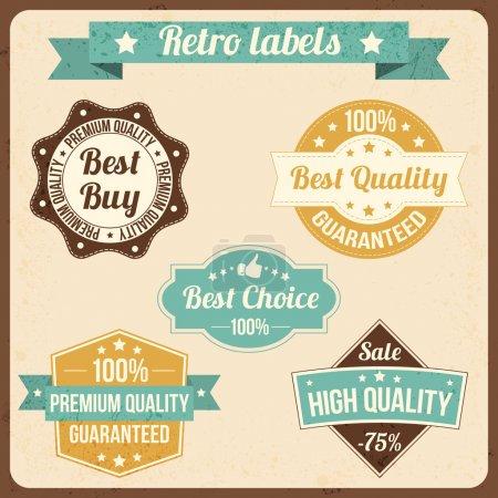 Illustration pour Ensemble vectoriel d'étiquettes rétro - image libre de droit
