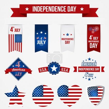 Illustration pour Insignes de fête de l'indépendance vectorielle - image libre de droit