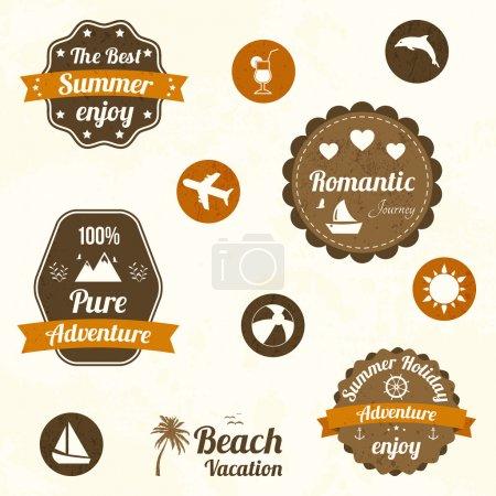 Illustration pour Étiquettes de voyage rétro. illustration vectorielle - image libre de droit