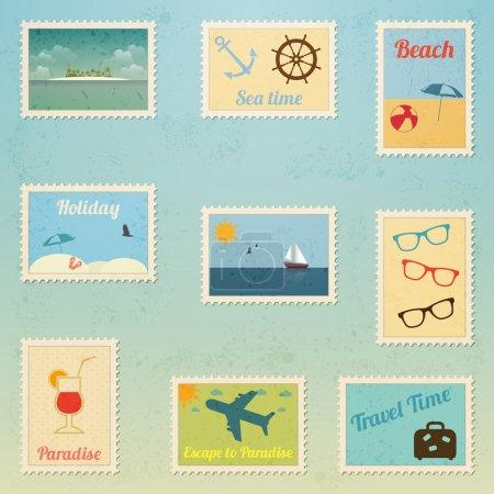 Série vectorielle de timbres-poste de voyage