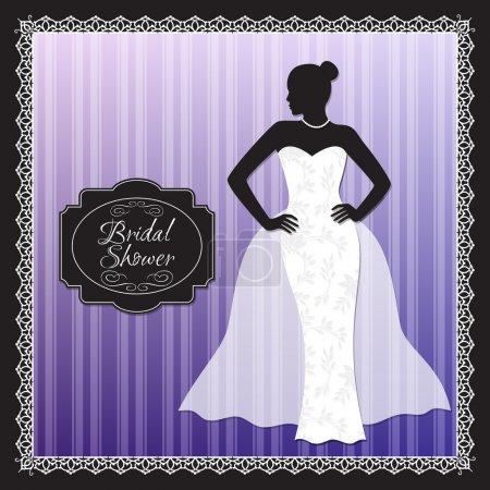 Illustration pour Invitation de douche de mariée de mariage - image libre de droit