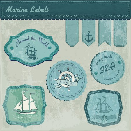 Vintage marine labels vector illustration