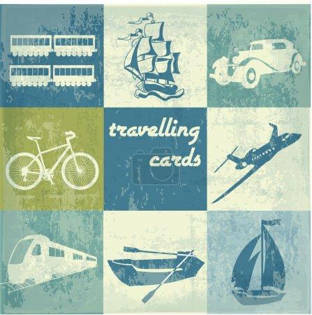 Vintage traveling cards vector illustration
