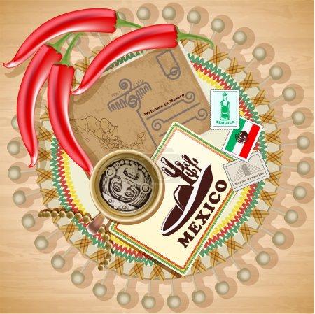Illustration pour Mexique éléments vintage illustration vectorielle - image libre de droit