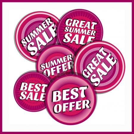 Illustration for Summer sale emblems vector illustration - Royalty Free Image