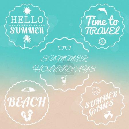 Summer sale design emblems set