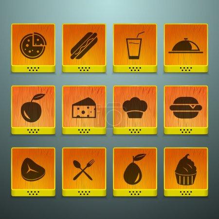 Illustration pour Icônes alimentaires set illustration vectorielle - image libre de droit