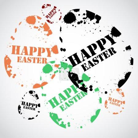 Illustration pour Heureuse illustration vectorielle de timbre de Pâques - image libre de droit