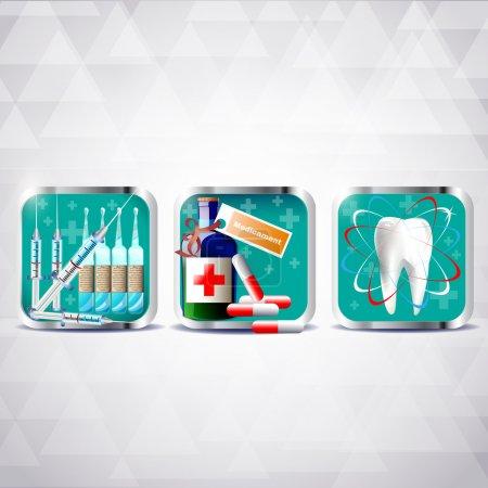 Illustration pour Icônes de médecine ensemble illustration vectorielle - image libre de droit