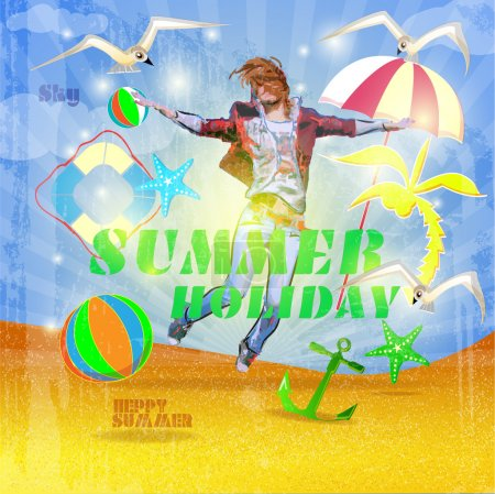 Photo for Vintage summer holiday poster - Royalty Free Image