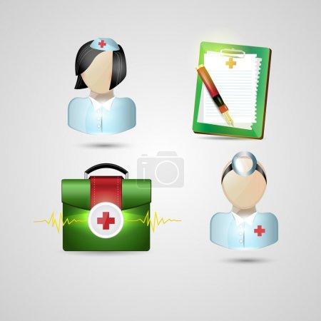 Illustration for Medicine icons set vector illustration - Royalty Free Image