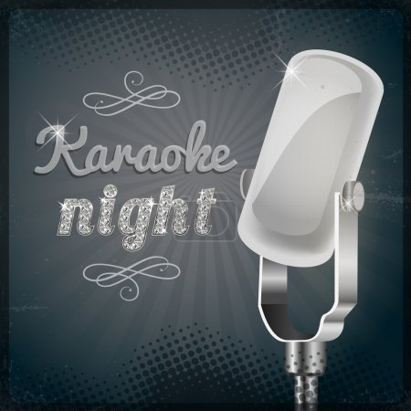 Karaoke night poster vector illustration