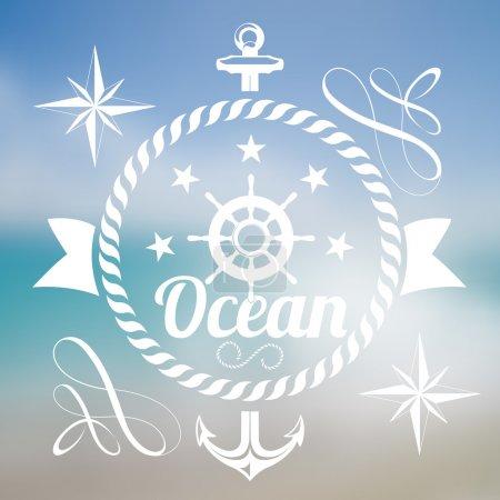 Ocean background vector illustration