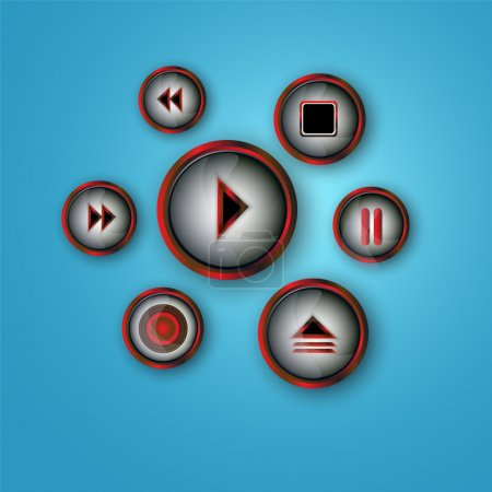 Media player buttons vector set