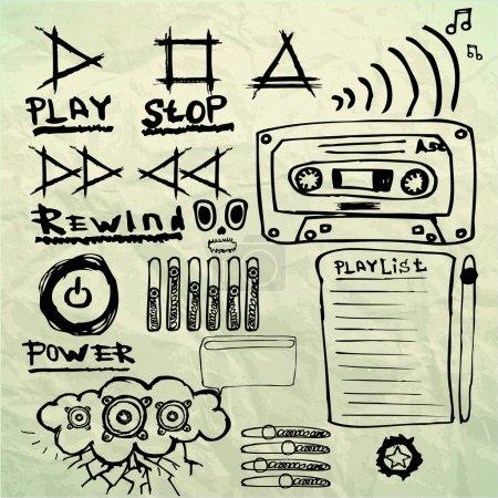 Music sketches set vector illustration