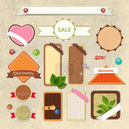 Illustration for Vintage sale signs vector illustration - Royalty Free Image