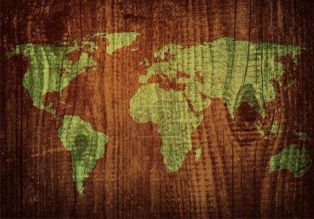 Illustration pour Carte du monde sculpture sur planche de bois - image libre de droit