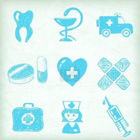 Illustration pour Ensemble d'icônes médicales artistiques - image libre de droit