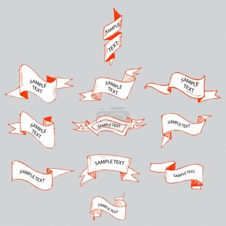 Illustration pour Rubans croquis set vectoriel illustration - image libre de droit