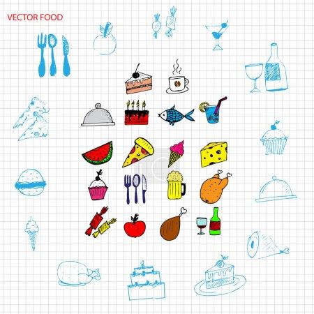 Illustration pour Ensemble de signes alimentaires vectoriels - image libre de droit