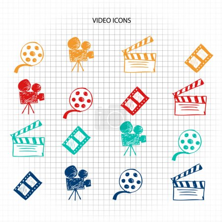 Video icons sketch set