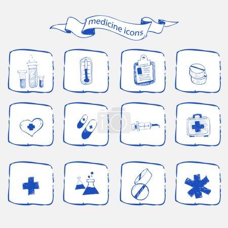 Medicine icons sketch set