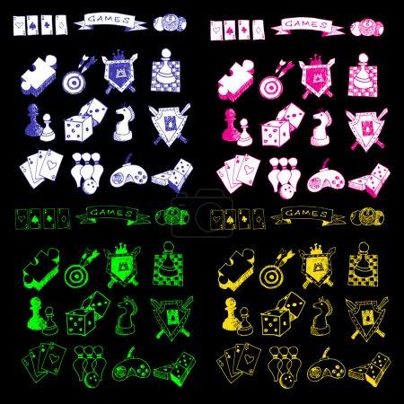 Game icons sketch set