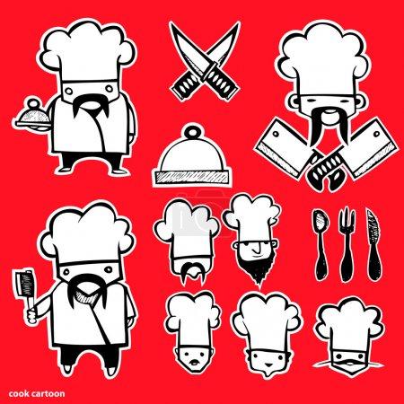 Illustration pour Ensemble d'icônes de dessin animé Cook - image libre de droit