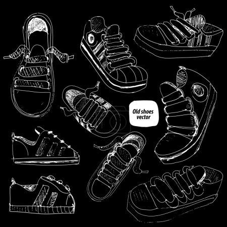 Shoes sketch set vector illustration