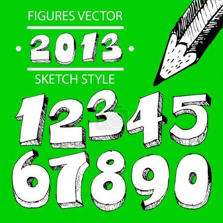 Illustration pour Figures style croquis vectoriel - image libre de droit