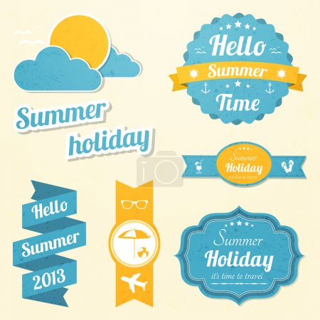 Illustration for Summer holiday signs set - Royalty Free Image