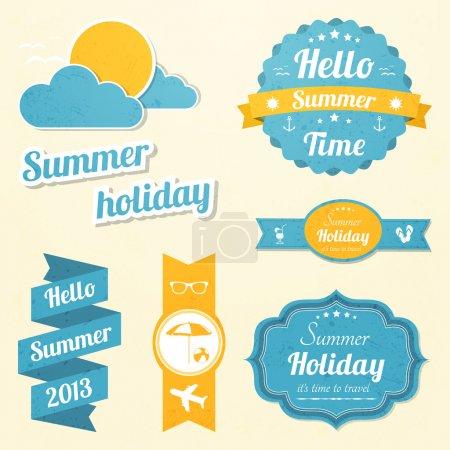 Illustration pour Panneaux vacances d'été ensemble - image libre de droit