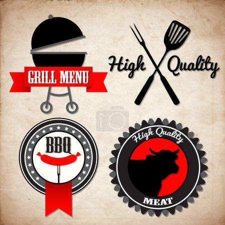 Grill menu signs vector illustration