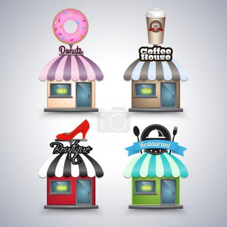 Mini shop icons  banner vector illustration