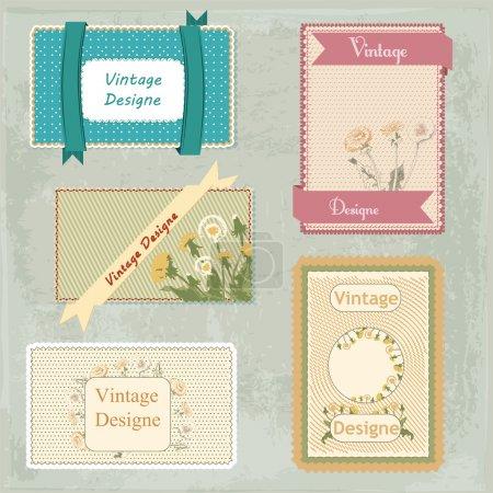 Illustration pour Ensemble vectoriel de cadres vintage avec fleurs - image libre de droit