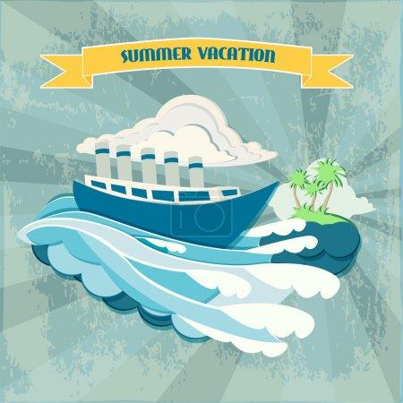Summer vacation background  banner vector illustration