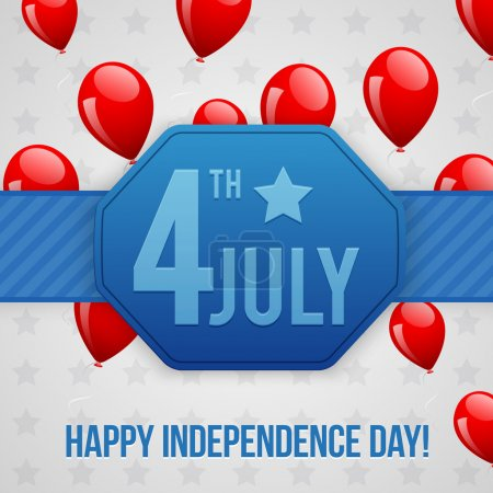 Illustration for Independence Day postcard design - Royalty Free Image
