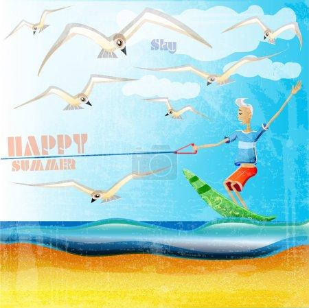 Illustration pour Illustration vectorielle de bannière d'été - image libre de droit