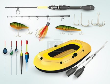 Fishing boat and rod elements