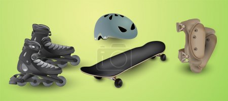 Illustration for Roller skates and protection elements - Royalty Free Image