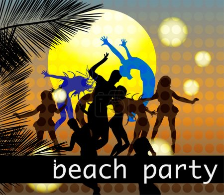 dance on beach vector illustration