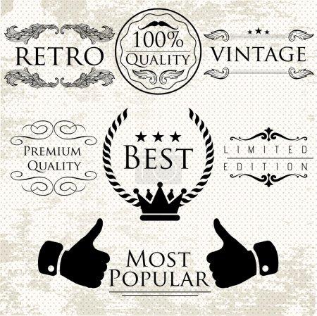 Illustration pour Ensemble d'étiquettes vectorielles vintage pour des articles de qualité supérieure - image libre de droit